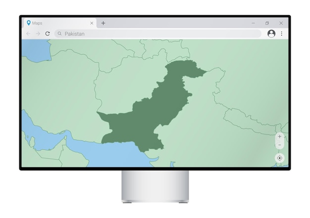 브라우저에 파키스탄 지도가 있는 컴퓨터 모니터, 웹 매핑 프로그램에서 파키스탄 국가를 검색합니다.