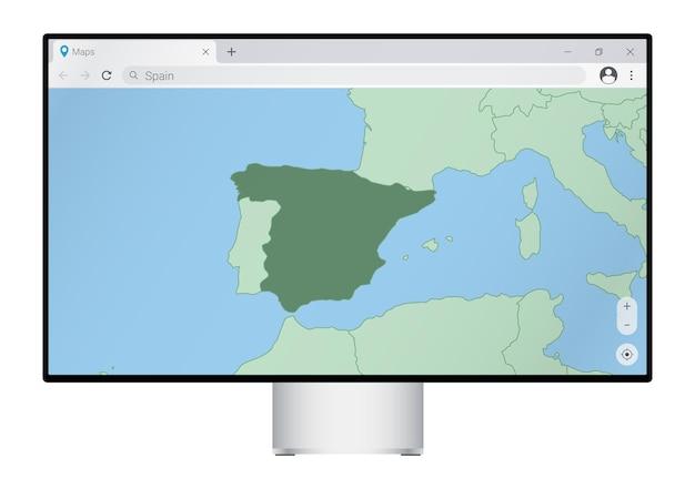 브라우저에 스페인 지도가 있는 컴퓨터 모니터, 웹 매핑 프로그램에서 스페인 국가를 검색합니다.