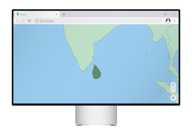 브라우저에 스리랑카 지도가 있는 컴퓨터 모니터, 웹 매핑 프로그램에서 스리랑카 국가를 검색합니다.