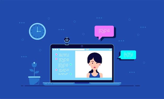 オンライン会議アプリケーションインターフェイス、webカメラと女性の肖像画、フラットスタイルのコンピューターモニター