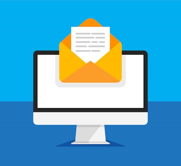 開いている封筒と画面上のドキュメントのコンピューターモニター。新しい手紙を取得または送信します。電子メール、メールマーケティング、トレンディなスタイルのインターネット広告の概念。図。