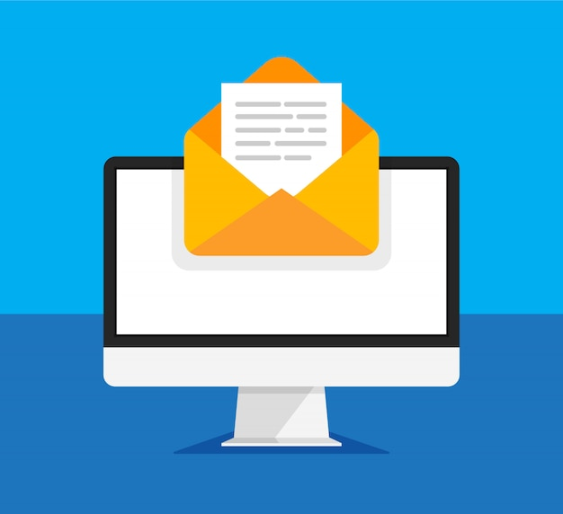Computer monitor with open envelope and document on a screen. getting or send new letter. e-mail, email marketing, internet advertising concepts in trendy style. illustration.