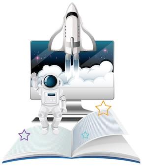 우주선과 우주 비행사가 있는 컴퓨터 모니터