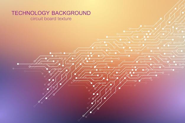 回路基板の電子要素とコンピューターのマザーボードベクトルの背景。コンピュータ技術、エンジニアリングコンセプトのための電子。マザーボード統合コンピューティング。