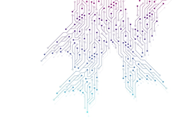 회로 기판 전자 요소와 컴퓨터 마더보드 벡터 배경입니다. 컴퓨터 기술, 엔지니어링 개념에 대한 전자 질감. 마더보드 컴퓨터 생성 추상 그림.