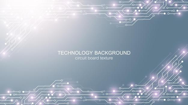 회로 기판 전자 요소와 컴퓨터 마더보드 벡터 배경입니다. 컴퓨터 기술, 엔지니어링 개념에 대한 전자 질감. 마더보드 컴퓨터 생성 추상 그림. 프리미엄 벡터