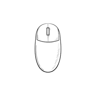 Computer mouse hand drawn outline doodle icon. computer and internet technology, pc and pointing device concept
