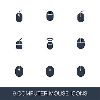 Набор иконок компьютерной мыши. знаки глифа простой дизайн. шаблон символа компьютерной мыши. значок универсального стиля, может использоваться для веб-интерфейса и мобильного интерфейса.