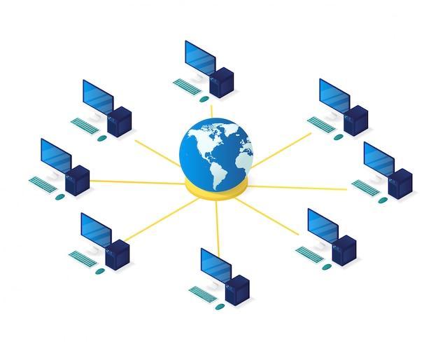 Computer network management isometric illustration