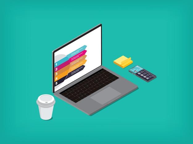 コンピューターのノートブックと携帯電話のコーヒーカップ