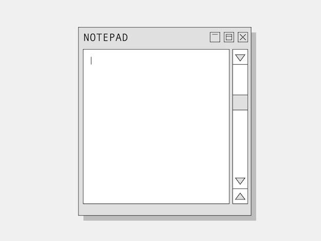 컴퓨터 메모장. 스크롤 커서 사용자 친화적 인 이전 인터페이스 정보 메모 및 그래픽 드로잉이있는 메모 및 텍스트 빈 화면에 대한 레트로 웹 노트북.