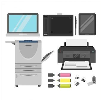 Computer office equipment vector