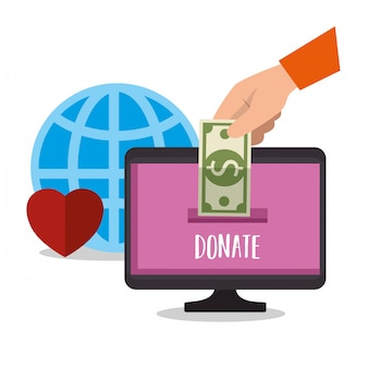 Computer for online charity donation