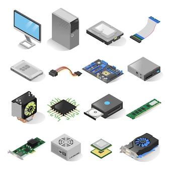 Computer parts isometric set