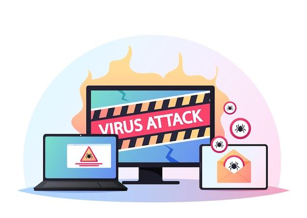 ひびの入ったpc画面上のコンピュータポップアップボックスシステムがハッキングされていることを警告