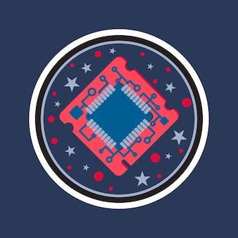 컴퓨터 프로세서 칩. 프로그래머의 노력, 시스템 관리자 활동, 과학적 혁신, 기술 발전 및 로봇의 상징. 하이테크 마이크로프로세서. 벡터