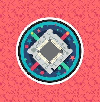 케이블, 와이어가 있는 컴퓨터 프로세서 칩. 프로그래머의 노력, 시스템 관리자 활동, 과학적 혁신, 기술 발전 및 로봇의 상징. 하이테크 마이크로프로세서. 벡터