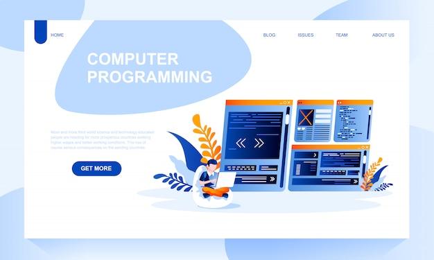 Computer programing landing page template with header