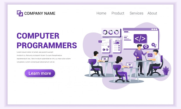 Computer programmers and developer  for landing page template.