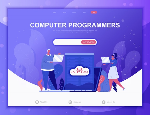 Computer programmers flat concept, landing page web template