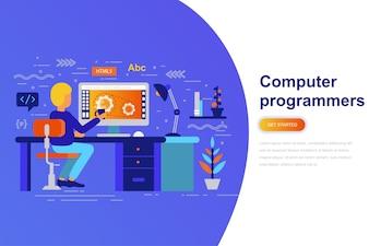 コンピュータプログラマーの現代フラットコンセプトウェブバナー