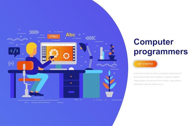 Computer programmers modern flat concept web banner
