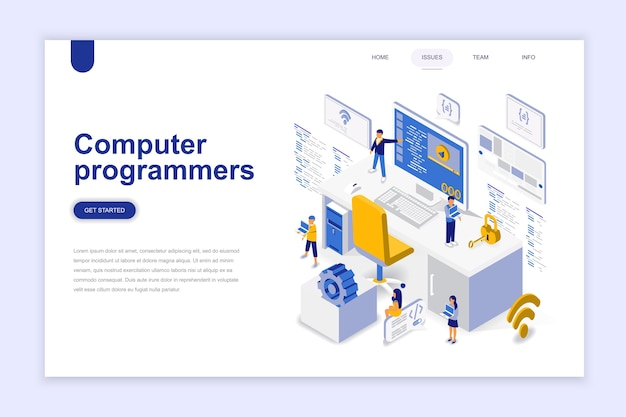 Computer programmers modern flat design isometric concept.