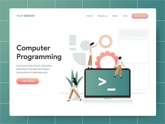 Computer programming  banner of landing page concept