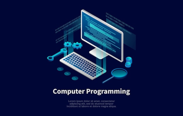 Computer programming conceptual illustration in cartoon 3d style.