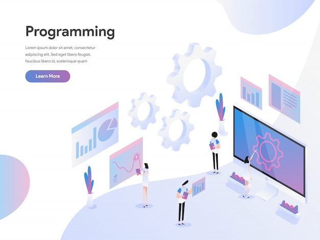 Computer programming isometric illustration concept