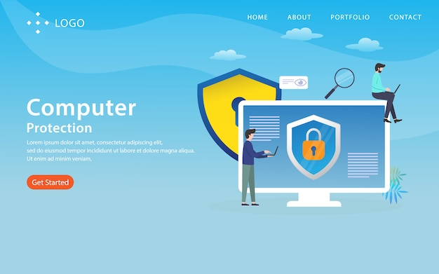 Computer protection, website template,  layered, easy to edit and customize, illustration concept