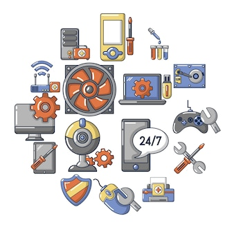 Computer repair service icons set, cartoon style