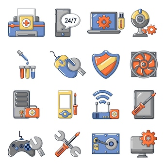 Computer repair service icons set