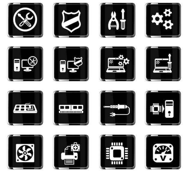 Ремонт компьютеров веб-иконки для дизайна пользовательского интерфейса