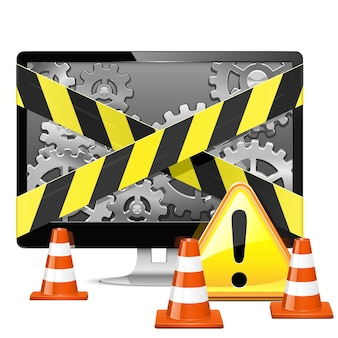 Computer repair with cones isolated on white