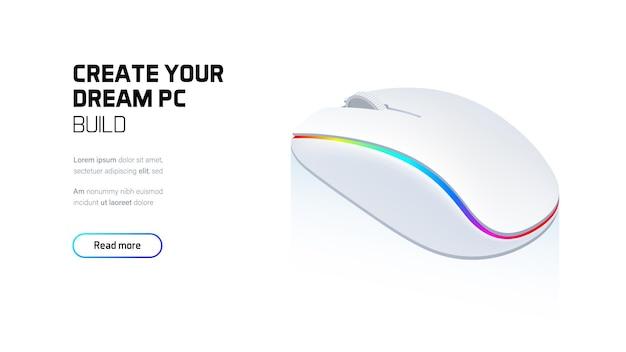 컴퓨터 rgb 게임 마우스 3d 현실 아이소 메트릭