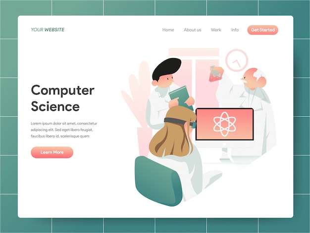 Computer science  banner of landing page concept