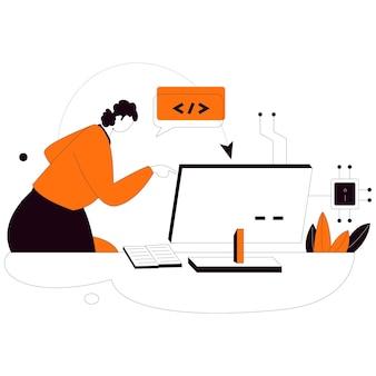Computer science flat style illustration kit