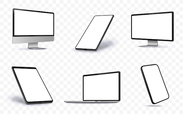 Computer screen, laptop, tablet pc and mobile phone  illustration with perspective views.  blank screen devices on transparent background.