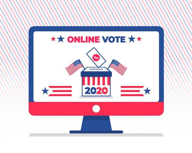 Экран компьютера готов к онлайн-голосованию на президентских выборах в сша 2020 года. концепция электронного голосования