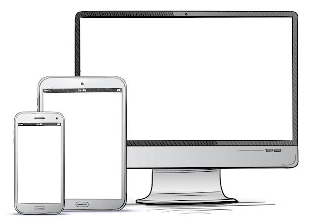 Computer screen, tablet pc, smart phone hand drawn illustration.