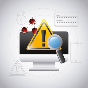 Computer screen warning virus search technology