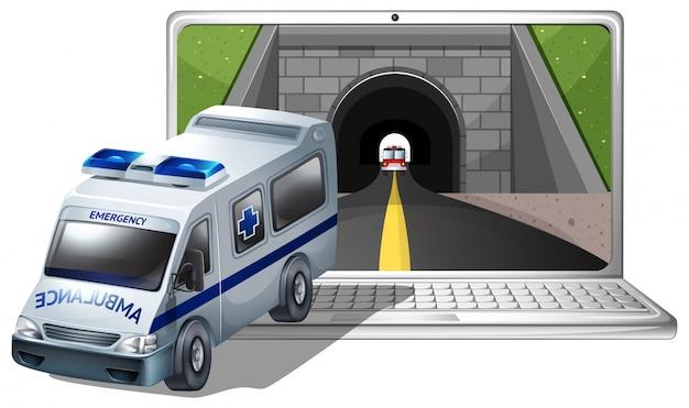 Экран компьютера с машиной скорой помощи и туннелем