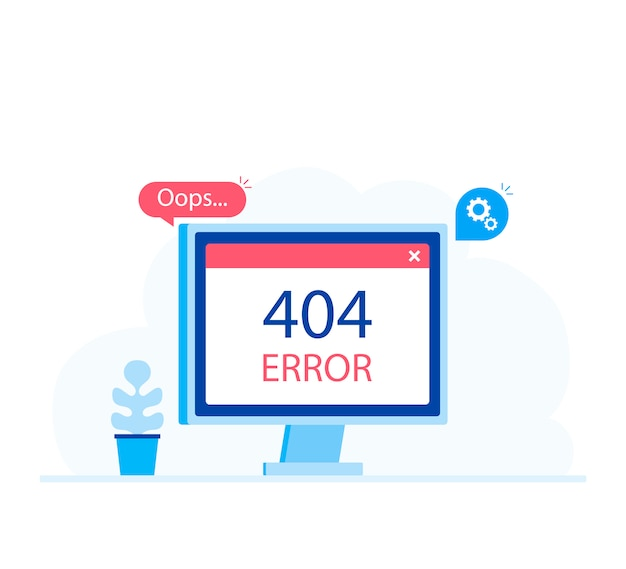 Computer screen with error. modern flat style vector illustration