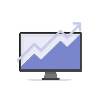 인포 그래픽 개념 벡터 일러스트와 함께 컴퓨터 화면