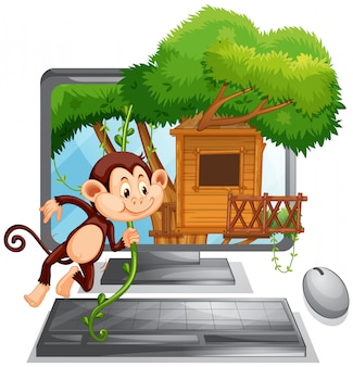 Экран компьютера с обезьяной, играющей в домике на дереве