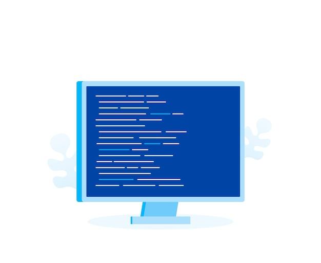 웹 페이지, 배너, 프리젠 테이션, 소셜 미디어, 문서를위한 프로그램 코드가있는 컴퓨터 화면. 현대 평면 스타일 벡터 일러스트 레이 션
