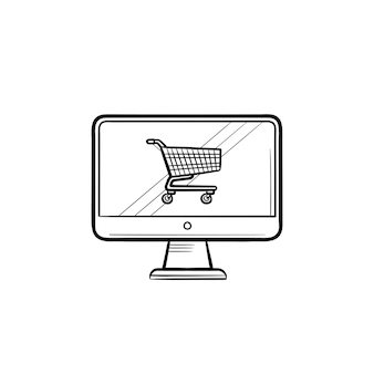 Computer screen with shopping cart hand drawn outline doodle icon. buying, shopping online, e-commerce concept