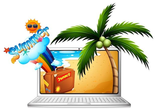 ビーチで夏のコンピューター画面