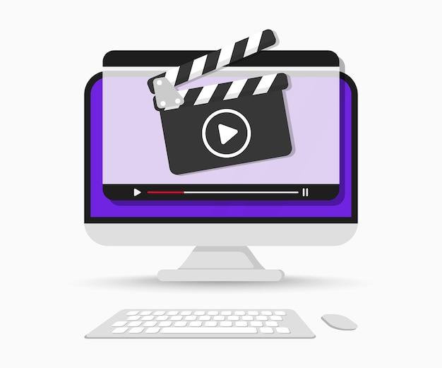 ビデオプレーヤーインターフェースを備えたコンピューター画面。オンラインビデオプレーヤーウィンドウを備えたカチンコ。ライブストリームプレーヤー。ビデオチュートリアル。オンライン映画または映画。オンラインビデオ、教育、webコース